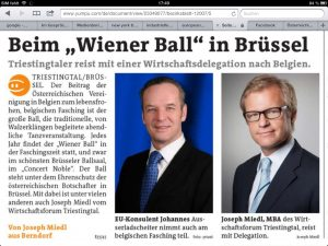 Dr. Ausserladscheiter, Joseph Miedl. European Court Experts beim Wiener Ball in Brüssel